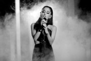 "Image has been converted to Black & White) Singer Ariana Grande performs ""Just a Little Bit of Your Heart"" during The 57th Annual GRAMMY Awards at the at the STAPLES Center on February 8, 2015 in Los Angeles, California."