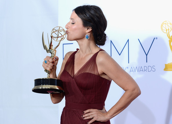 Julia Louis-Dreyfus  winner Outstanding Lead Actress in a Comedy Series poses in the press room during the 64th Annual Primetime Emmy Awards at Nokia Theatre L.A. Live on September 23, 2012 in Los Angeles, California.