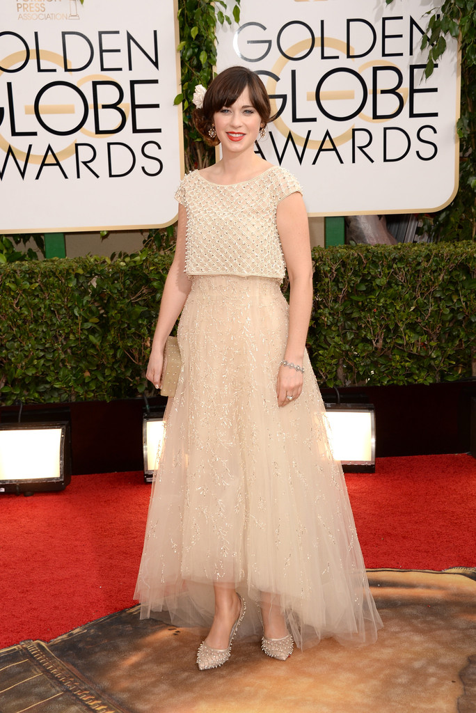 zooey descahnel white beaded dress 2014