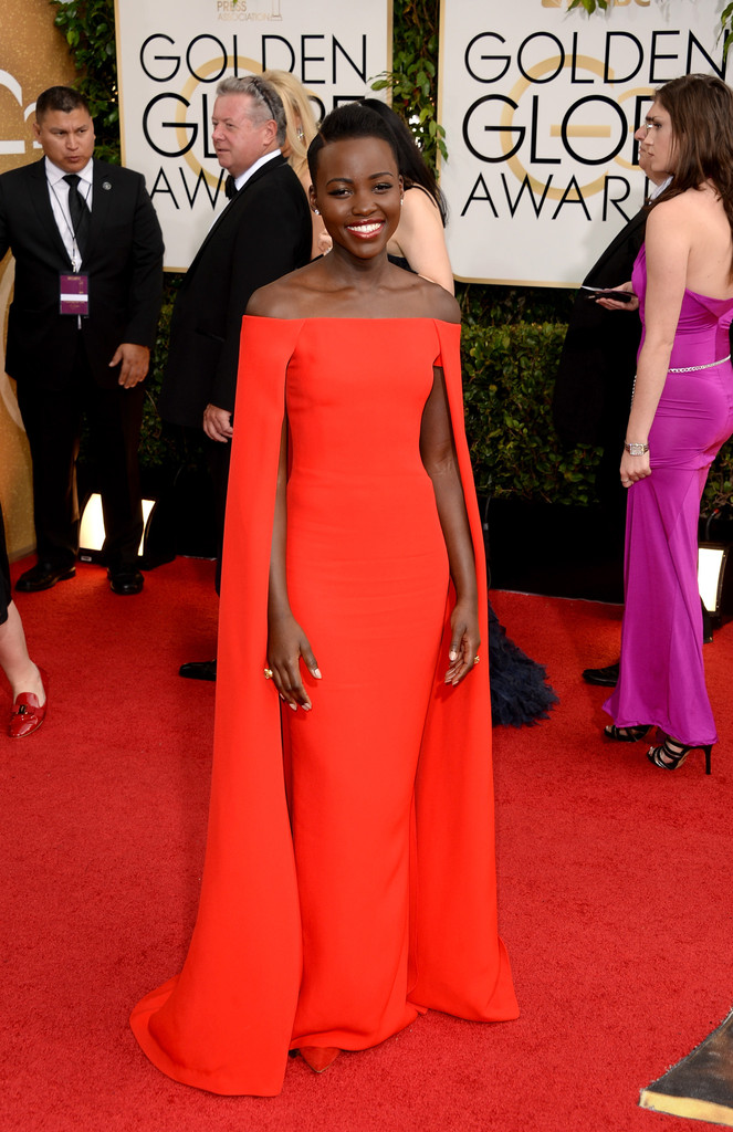 lupita nyongo'o 2014 red cape dress