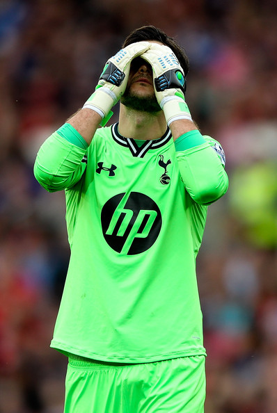 Huge Lloris of Tottenham reacts during the Barclays Premier League match between Cardiff City and Tottenham Hotspur at Cardiff City Stadium on September 22, 2013 in Cardiff, Wales.