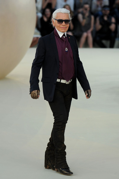 Karl Lagerfeld walks the runway during the Chanel show as part of the Paris Haute Couture Fashion Week Fall/Winter 2011 at Grand Palais on July 6, 2010 in Paris, France.
