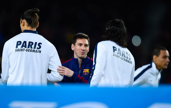 Lionel Messi of FC Barcelona shakes hands with Zlatan Ibraimovic (L) and Edinson Cavani of Paris Saint-Germain FC prior to the UEFA Champions League group F match between FC Barcelona and Paris Saint-Germanin FC at Camp Nou Stadium on December 10, 2014 in Barcelona, Spain.