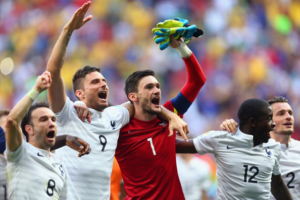 (L-R) Mathieu Valbuena, Olivier Giroud, Hugo Lloris, Rio Mavuba and Mathieu Debuchy of France celebrate after defeating Nigeria 2-0 during the 2014 FIFA World Cup Brazil Round of 16 match between France and Nigeria at Estadio Nacional on June 30, 2014 in Brasilia, Brazil.