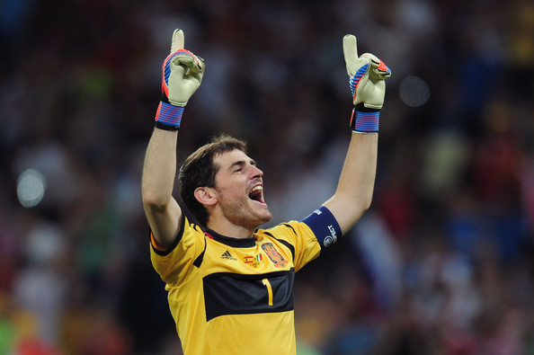 Iker Casillas Iker Casillas of Spain celebrates after his team-mate Fernando Torres scored their third goal during the UEFA EURO 2012 final match between Spain and Italy at the Olympic Stadium on July 1, 2012 in Kiev, Ukraine.