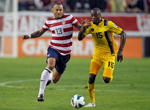 Jermaine Jones Midfielder Jermaine Jones #13 of Team USA battles midfielder Lawson Robinson #15 of Team Antigua and Barbuda for the ball during the FIFA World Cup Qualifier Match at Raymond James Stadium on June 8, 2012 in Tampa, Florida.