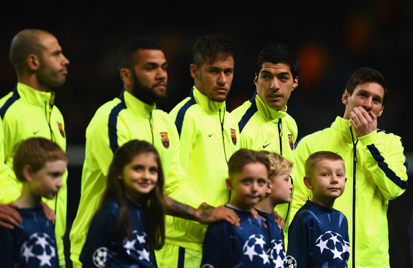 Lionel Messi (L-R) Javier Mascherano, Daniel Alves, Lionel Messi, Luis Suarez and Neymar of Barcelona  line up during the UEFA Champions League Round of 16 match between Manchester City and Barcelona at Etihad Stadium on February 24, 2015 in Manchester, United Kingdom.