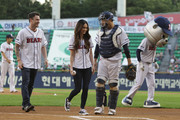 Actress Megan Fox and his husband Bryan Austin Green leave after throw out the first pitch at the LG Twins vs. Doosan Bears as a part of promotion for South Korea premiere of 'Teenage Mutant Ninja Turtles' on August 27, 2014 in Seoul, South Korea.