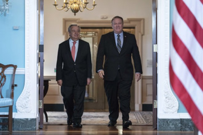Mike Pompeo Secretary Of State Mike Pompeo Meets With United Nations Secretary-General Antonio Guterres