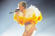 Miley Cyrus performs at the opening night of her Bangerz Tour in Australia at Rod Laver Arena on October 10, 2014 in Melbourne, Australia.
