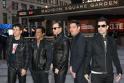 (L - R) Joey McIntyre, Danny Wood, Donnie Wahlberg, Jordan Knight, and Jonathan Knight of New Kids on the Block pose for a photo during a press conference at Madison Square Garden on January 20, 2015 in New York City.
