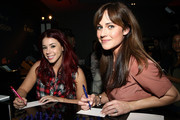 Actresses Jillian Rose Reed (L) and Nikki DeLoach attend the Pilot Pen and GBK Luxury Lounge honoring Golden Globe nominees and presenters held at the W Hollywood on January 10, 2015 in Hollywood, California.