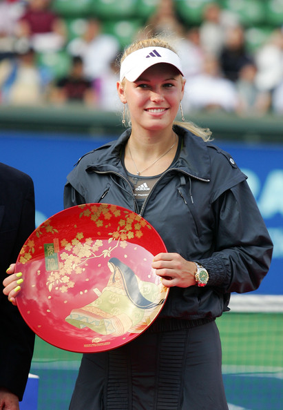 Caroline Wozniacki of Denmark celebrates during day seven of the Toray Pan Pacific Open tennis tournament at Ariake Colosseum on October 2, 2010 in Tokyo, Japan. Caroline Wozniacki of Denmark defeated Elena Dementieva of Russia 1-6, 6-2, 6-3.