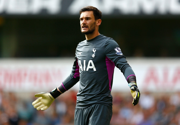 Hugo Lloris of Spurs reacts during the Barclays Premier League match between Tottenham Hotspur and West Bromwich Albion at White Hart Lane on September 21, 2014 in London, England.