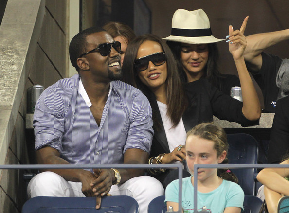 "Kanye West (blue and white striped shirt), Selita Ebanks (sunglasses, black jacket), Ed Westwick (white t-shirt, back row) and Jessica Szohr (white fedora) enjoying the action - and the bar - at the US Open. Kanye and Selita, who were rumoured to be dating back in 2008, looked to be getting on very well together as they watched Andy Roddick from the comfort of a suite in the Arthur Ashe Stadium. The rapper, who recently split from model Amber Rose, and the Victoria's Secret model, who was once engaged to Nick Cannon, laughed, joked and drank their way through the match with ""Gossip Girl"" stars Westwick and Szohr."