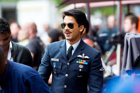 """Shahid Kapoor Shahid Kapoor seen filming the Bollywood film """"Mausam"""" at the Grassmarket in Edinburgh, Scotland. The 29 year old is seen donning a mustache. The film with mark the first time Shahid Kapoor has been in a film opposite his father, Pankaj Kapoor, writer and director of film due out in 2011."""