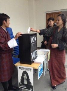 Yonten, student at the Royal Thimphu College, collecting MY World votes from fellow students.