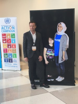 Ewan MacGregor, Goodwill Ambassador for UNICEF poses with young girl he met on his last visit to Erbil