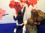 Kids at the EU Humanitarian Aid Stand