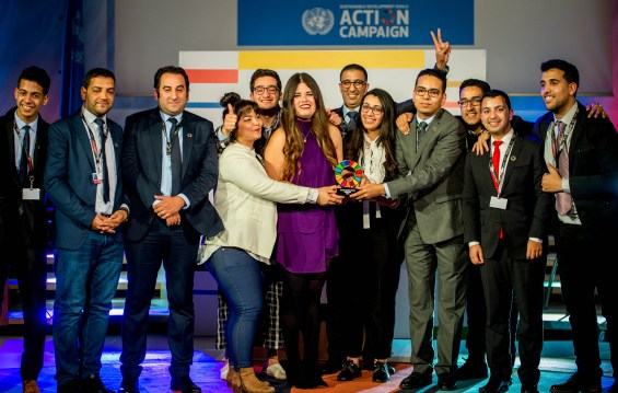 Mobilizer – SDG Youth Morocco (Morocco): Working to pave the way towards achieving the Agenda 2030 in the North-African country and the rest of the region, this initiative was created to express Moroccan youth's engagement towards reaching the 17 Goals, with the aim to educate and empower Moroccans to achieve Agenda 2030, through the initiation and facilitation of partnerships between government officials, civil society institutions, youth voices and the UN SDG Action Campaign to break barriers. Founder and who accepted the award: Hatim Aznague