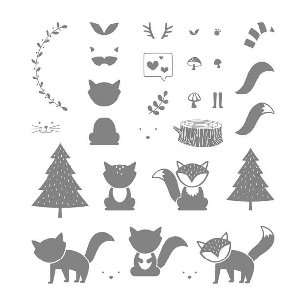 141549 Stempelset Foxy Friends Image