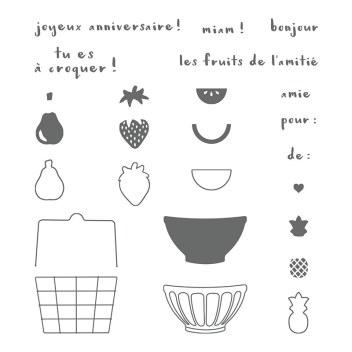 Ensemble de tampons photopolymères Panier de fruits (français)
