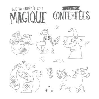 Ensemble de timbres à montage libre Journée magique (Français)