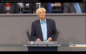 Hans-Christian Ströbele spricht im Bundestag zum Abschlussbericht des NSU-Untersuchungsausschusses.