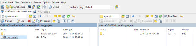 Using WinSCP to transfer and synchronize data and programs