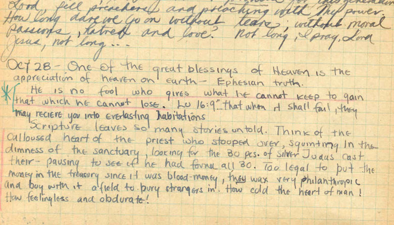 Jim Elliots Journal Entry With He Is No Fool Quote Anchored In