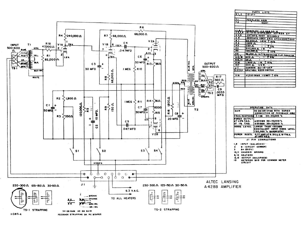 Altec 428b Microphone Preamp Schematic