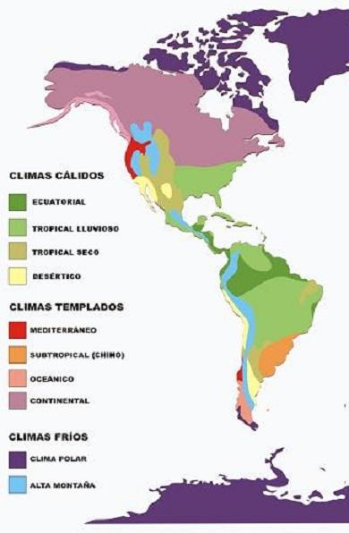 MAPA CLIMAS DE AMÉRICA