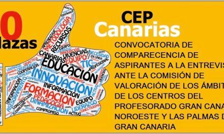 Convocatoria de comparecencia de aspirantes a la entrevista ante la Comisión de Valoración de los ámbitos de los centros del profesorado Gran Canaria Noroeste y Las Palmas de Gran Canaria