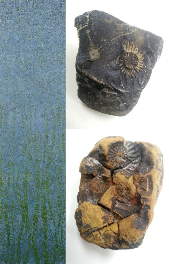 """Left: 200 x 50 cm, oil/canvas. Right: From the stream bed of the """"Teufelsgraben"""" near Schnaittach (Middle Franconia). Lias (Lower Jurassic), 201.3 – 174.1 mya (million years ago)."""