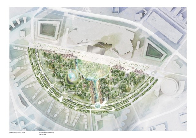 Andreas Kipar/Thomas Schönauer: Khodynka Park, Moscow, site plan (2014). Photo: LAND Milano.