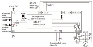 Compact Type 4 Safety Beam Sensor ST4 IO Circuit and Wiring diagrams | Automation Controls