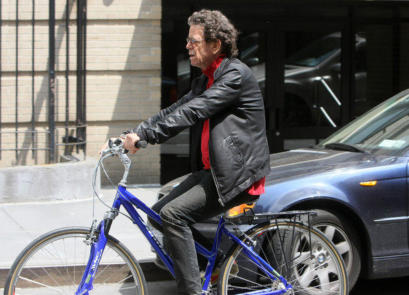 Lou Reed Rock legend Lou Reed rides his bike in New York City today.