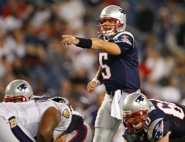 Kevin O'Connell #5 of the New England Patriots shouts instructions against the Baltimore Ravens during a preseason game at Gillette Stadium on August 7, 2008 in Foxboro, Massachusetts.