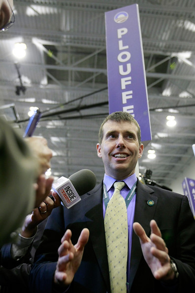 Obama campaign manager David Plouffe speaks to the media in the spin room after the vice presidential debate at the Field House of Washington Universitys Athletic Complex on October 2, 2008 in St. Louis, Missouri.  (Photo by Chip Somodevilla/Getty Images North America)