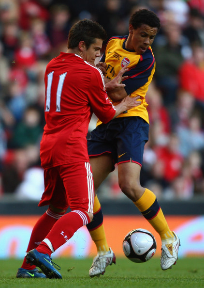 Alexander Kacaniklic Alexander Kacaniklic of Liverpool battles with Francis Coquelin of Arsenal during the second leg of the FA Youth Cup final sponsored by E.ON, between Liverpool and Arsenal at Anfield on May 26, 2009 in Liverpool, England.  (Photo by Jamie McDonald/Getty Images) *** Local Caption *** Alexander Kacaniklic;Francis Coquelin