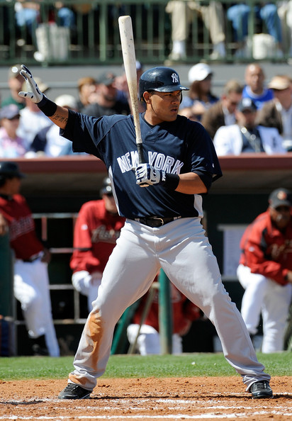 Melky Cabrera #53 of the New York Yankees calls for time during a spring training game against the Houston Astros at Osceola County Stadium on March 2, 2009 in Kissimmee, Florida.  (Photo by Sam Greenwood/Getty Images) *** Local Caption *** Melky Cabrera
