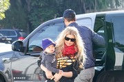 Fergie and Josh Duhamel with son Axl at Breakfast.