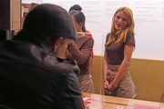 'The Duff' actress Bella Thorne works a shift at Sprinkles Cupcakes at The Grove in Los Angeles, California on December 18, 2014. Earlier Bella dressed up and worked as Santa's helper even posing for pictures with fans. Bella had a friend with her who was a Leonardo DiCaprio look alike and they did the famous scene from 'Titanic' as they left the store.