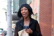 Singer and actress Brandy Norwood is all smiles while out and about on February 6, 2015 in Beverly Hills, California. Brandy has taken a break from her singing career and has been enjoying her time away from the spotlight.