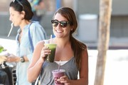 'Glee' actress Lea Michele stops by Earth Bar in West Hollywood, California to grab a healthy drink to go on September 21, 2014. It is being reported that Lea's new boyfriend Matthew Paetz has officially moved into Michele's house after only four months of dating.