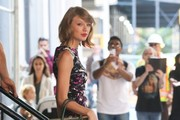 """Taylor Swift is seen stepping out in New York City, New York on September 15, 2014. Taylor recently invited the fraternity Delta Sigma Phi Beta Mu from Kentucky's Transylvania University to her tour next year, after an adorable lip-dub video they made to her hit """"Shake It Off"""" went viral."""