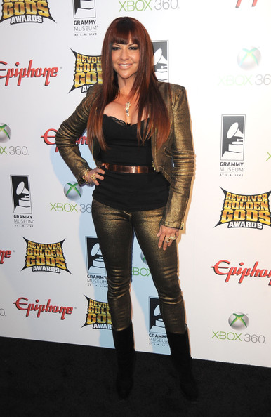 Perla Hudsons arrive at the 2012 Revolver Golden Gods Award Show at Club Nokia on April 11, 2012 in Los Angeles, California.