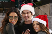 "Actors Shay Mitchell, Tyler Blackburn and Lucy Hale attend ABC's ""25 Days Of Christmas"" Celebration at Cucina at Rockerfellar Center on December 7, 2014 in New York City."