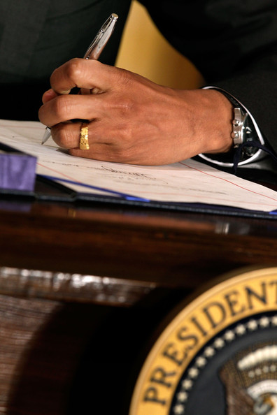 Barack Obama U.S. President Barack Obama signs the U.S. Manufacturing Enhancement Act during a ceremony in the East Room of the White House August 11, 2010 in Washington, DC. The law contains hundreds of tariff suspensions and reductions on products that U.S. manufacturers use in domestic production. The National Association of Manufacturers says the new law will increase production by $4.6 billion and support 90,000 American jobs.