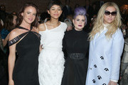 (L-R)Juliette Lewis, Zendaya, Kelly Osbourne and Kesha attend the Christian Siriano Fashion Show at ArtBeam on February 14, 2015 in New York City.
